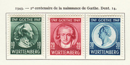 Allemagne Wurtemberg - Germany - Deutschland 1949 Y&T N°46 à 48 - Michel N°44 à 46 * - Naissance De Goethe - French Zone