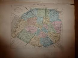 1880: PARIS  Et Son Mur D'enceinte;  PARIS Au XIIe Et XIIIe Siècle  Cartes Géo.-Descriptives En Taille Douce Par Migeon. - Geographische Kaarten