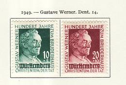 Allemagne Wurtemberg - Germany - Deutschland 1949 Y&T N°44 à 45 - Michel N°47 à 48 * - Gustav Werner - French Zone