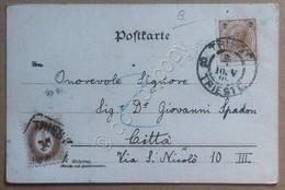 Storia Postale Impero Austriaco 1899 - Cartolina Augurale Con 2 Kr + Marca Bollo - Francobolli