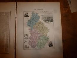 1880: JURA (Lons-le-Saunier,Dôle,Poligny,St-Claude,Nozeroy,Morez,etc)  Carte Géo-Descriptive En Taille Douce Par Migeon. - Cartes Géographiques