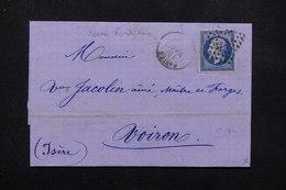 FRANCE - Lettre De Nantes Pour Voiron En 1861 , Affranchissement Napoléon 20cts Sur Verdâtre - L 23053 - Marcophilie (Lettres)
