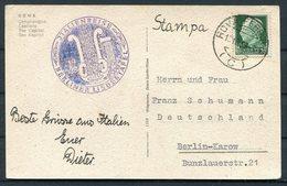 1938 Italy Rome Postcard - Franz Schumann, Berlin. Italienreise Berliner Lisdertafel Music - 1900-44 Vittorio Emanuele III