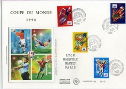 Bo301 Grande Enveloppe Coupe Du Monde 1998 Lyon;Paris;Nantes;Marseille.31/05/1997 - FDC