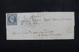 FRANCE - Lettre De Couterne Pour Vannes En 1854 - Oblitération PC 1013 Sur Napoléon - L 23054 - 1849-1876: Période Classique