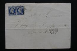 FRANCE - Lettre De Paris Pour Rampillon En 1856 - Oblitération étoile Sur Paire De Napoléon - L 23055 - Marcophilie (Lettres)