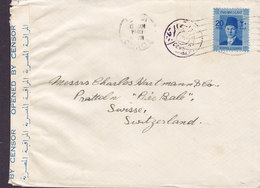 Egypt Egypte CAIRO 1940 Cover Brief Switzerland EGYPTIAN CENSORSHIP OPENED BY CENSOR Label (2 Scans) - Ägypten
