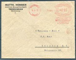 1932 Germany Trossingen Hohner Franking Machine / Metermark Advertising Cover - Uebersee Post, Leipzig. Music - Storia Postale