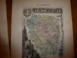 1880:SEINE Et OISE (Versailles,Corbeil,Etampes,Mantes,Pontoise,etc)  Carte Géo-Descriptive En Taille Douce Par Migeon. - Geographische Kaarten