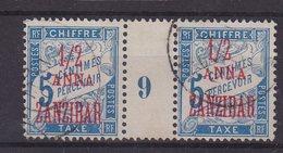 ZANZIBAR :T  N° 1 . PAIRE MILL 9 . OBL . TB .1897 . - Zanzibar (1894-1904)