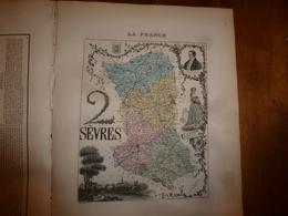 1880:DEUX-SEVRES(Niort,Bressuire,Melle,Parthenay,Beauvoir,Thouars,etc) Carte Géo-Descriptive En Taille Douce Par Migeon. - Cartes Géographiques