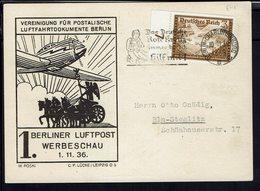 """ALLEMAGNE - 1936 """"Fédération Des Postiers Allemand"""" Timbre 640 Sur Carte Postale Illustrée - Flamme De La Croix Rouge - - Allemagne"""