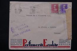 ESPAGNE - Enveloppe Commerciale De Sévilla Pour La Suisse En 1939 , Cachet De Propagande De Franco , Censure  - L 23065 - Marcas De Censura Nacional
