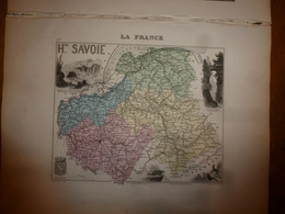 1880:Hte-SAVOIE (Annecy,Bonneville,St-Julien,Thonon,Cluses,Thorens,etc)Carte Géo-Descriptive En Taille Douce Par Migeon. - Geographische Kaarten