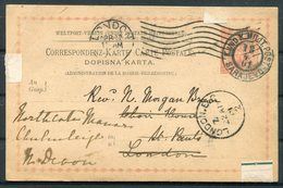 1901 Bosnia / GB Sarajevo Stationery Postcard - London Redirected Devon. Feldpost Military Fieldpost / Milit Post - Bosnia And Herzegovina