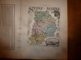 1880:SEINE Et MARNE (Melun,Coulommiers,Fontainebleau,Meaux,Provins,etc)Carte Géo-Descriptive En Taille Douce Par Migeon. - Cartes Géographiques