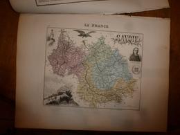 1880:SAVOIE (Chambéry,Albertville,Moutiers,St-Jean-de-Maurienne,etc) Carte Géo-Descriptive En Taille Douce Par Migeon. - Cartes Géographiques