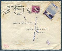 1941 Norway Oslo Censor Cover - Puerto De Santa Maria, Spain. Seville Censura. 5ore V Victory Opt + Slogan. Blindas Dag - Norway
