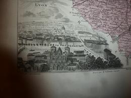 1880:RHONE (Lyon,Villefranche,Tarare,Thisy,Givors,Limonest,Beaujeu,etc)Carte Géo-Descriptive En Taille Douce Par Migeon. - Cartes Géographiques