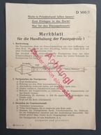 Rare Document De 1943 Sur Arme Allemande Faustpatrone 1 Oberkommando Des Heeres - Nicht In Feindeshand... Anti Tank Char - 1939-45
