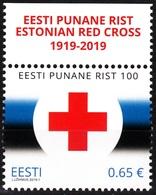 ESTONIA 2019-01 Red Cross - 100. Medicin. Top Inscribed Margin, MNH - Cruz Roja