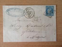 France - Timbre Cérès 20c YT N°46b (Emission De Bordeaux) Sur Lettre Circulée En Juin 1871 - Ob. GC 4034 - 1870 Bordeaux Printing