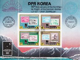 DPR Korea 1980 Sc. 1989a Stamp Fair Essen LZ-127 Graf Zeppelin Sheet Perf. CTO Corea - Corée Du Nord