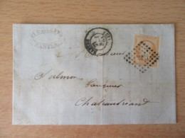 France - Timbre Napoléon III 40c Orange YT N°16 Non-dentelé Sur Lettre Circulée En 1861 - Ob. PC 2221 - 1853-1860 Napoleone III