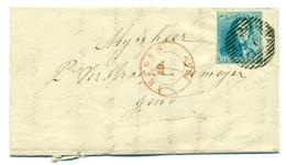 Belgique COB2 Sur Pli De Bruges à Gand 10 Dec 1849 - 1849 Epaulettes
