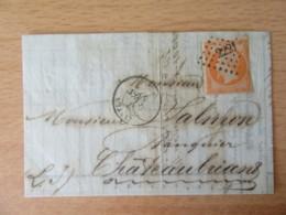 France - Timbre Napoléon III 40c Orange Vif YT N°16 Sur Lettre Circulée En 1857 - Ob. PC 2221 - 1853-1860 Napoléon III