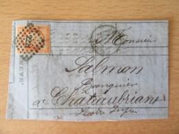 France - Timbre Napoléon III 40c Orange Vif YT N°16 Sur Lettre Circulée En 1857 - Ob. PC 2221 - 1853-1860 Napoleon III
