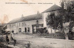 MONTIGNY AUX AMOGNES NIEVRE HOTEL LAFRANCHISE Monument Aux Morts à Droite Calèches Personnages - France