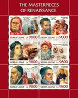 SIERRA LEONE 2018 - Giotto, Michelangelo, Raphael, Leonardo Da Vinci, Titian, Fra Angelico. Official Issue. - Art