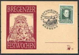 1947 AUSTRIA BREGENZ FESTSPIELWOCHE,12G Schubert, Bregenzer Music Festival Postcard - 1945-.... 2nd Republic