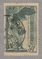 TP FRANCE 1937 - VICTOIRE DE SAMOTHRACE 30C VERT OBLITERE - France
