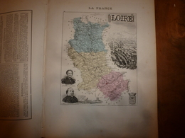 1880:LOIRE (St-Etienne, Montbrison,Roanne ,Boën,Feurs ,Perreux,etc) Carte Géo-Descriptive En Taille Douce Par Migeon. - Cartes Géographiques