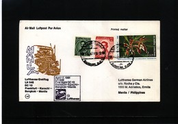 Thailand 1981 Lufthansa First Flight Bangkok - Manila - Thailand