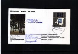 Zaire 1986 Lufthansa First Flight Kinshasa - Libreville - Zaire