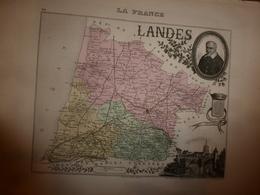 1880:LANDES (Mt-de-Marsan,Dax,St-Sever,Amou,Tartas,Labrit,Mimizan,etc) Carte Géo-Descriptive En Taille Douce Par Migeon. - Cartes Géographiques