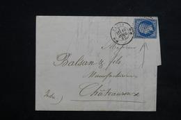 FRANCE - Lettre De Paris Pour Châteauroux En 1862 , Oblitération Cercle De Points Sur Napoléon - L 23075 - Marcophilie (Lettres)