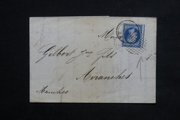 FRANCE - Lettre De Paris Pour Avranches En 1862, Oblitération Cercle De Points Sur Napoléon - L 23077 - Marcophilie (Lettres)