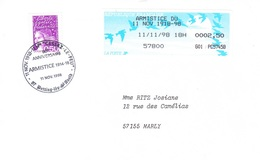 57800 Rtetting Lès Saint Avold-11/11/1998-Armistice Du 11 Nov 1918-1998- Avec Cachet Commémoratif - 1990 Type «Oiseaux De Jubert»