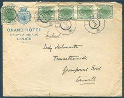 1907 Austria Grand Hotel, Levico Illustrated Cover- Lady Molesworth, Trewarthenick Cornwall. Grampound Road C.d.s. - Covers & Documents