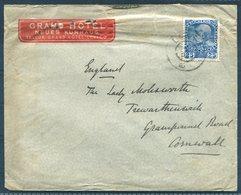 1908 Austria Grand Hotel, Levico Illustrated Cover- Lady Molesworth, Trewarthenick Cornwall. Grampound Road C.d.s. - Covers & Documents