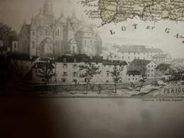 1880:DORDOGNE (Périgueux,Bergerac,Nontron,Riberac,Sarlat ,Neuvic,etc)Carte Géo-Descriptive En Taille Douce Par Migeon - Geographische Kaarten