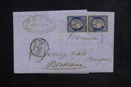 FRANCE - Lettre De Limoges Pour Bordeaux En 1852, Affranchissement Cérès En Paire - L 23079 - Marcophilie (Lettres)