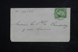 FRANCE - Enveloppe De Paris Pour Une Comtesse En 1861 , Affranchissement Napoléon Non Dentelé 5ct - L 23080 - Marcophilie (Lettres)