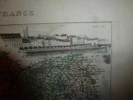1880:SAONE Et LOIRE(Macon,Chalon-s-Saône,Charolles,Louhans,Tournus,etc) Carte Géo-Descriptive En Taille Douce Par Migeon - Cartes Géographiques