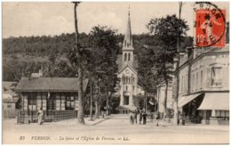 27 VERNON - La Gare Et L'église De Vernon - Vernon