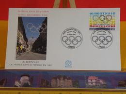 Albertville, Pays Olympiques 1992  - Paris - 19.6.1992 FDC 1er Jour N°1802 - Coté 3€ - FDC